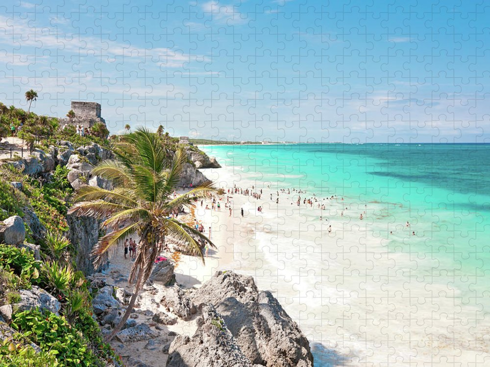 Water's Edge Puzzle featuring the photograph Tulum Beach by M Swiet Productions