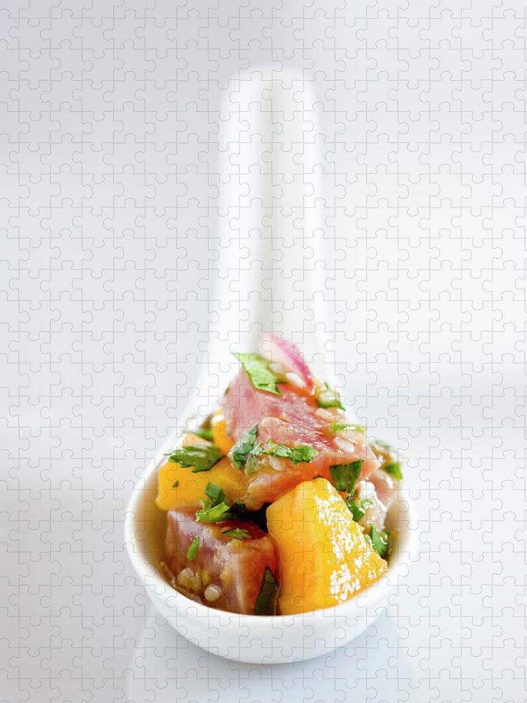 Mango Fruit Puzzle featuring the photograph Tuna Ceviche In Asian Soup Spoon by Inti St. Clair