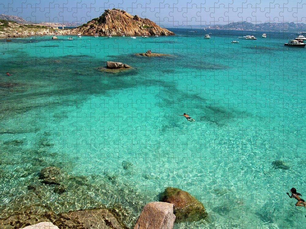 Scenics Puzzle featuring the photograph Turquoise Sea And Boats At La Maddalena by Vito elefante