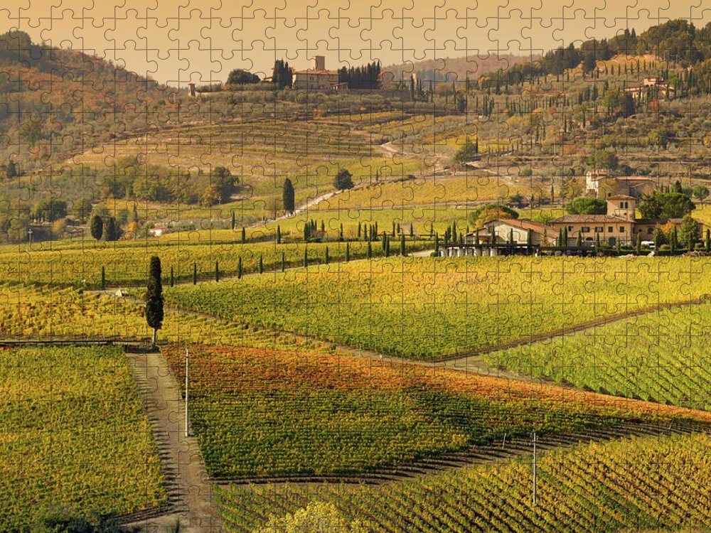 Scenics Puzzle featuring the photograph Tuscany Farmhouse And Vineyard In Fall by Lisa-blue