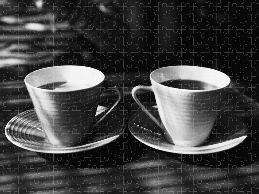 Sunlight Puzzle featuring the photograph Two Cups Of Coffee In Sunlight by Breeze.kaze