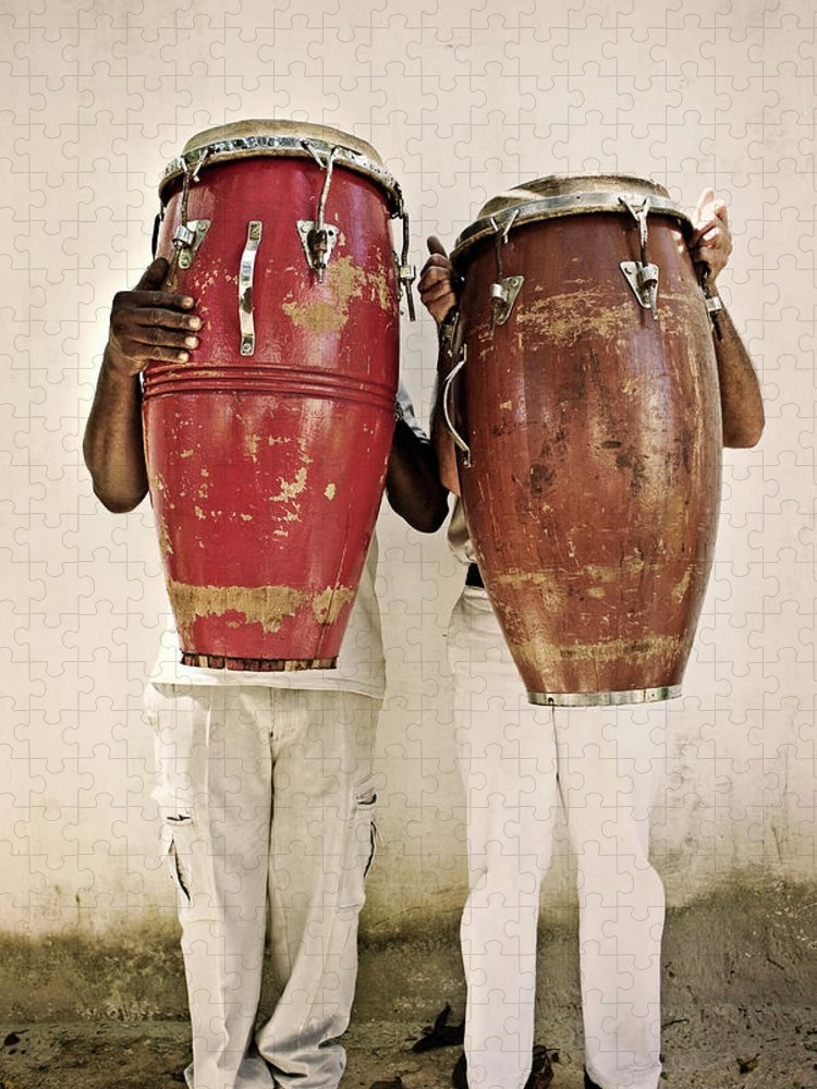 Hiding Puzzle featuring the photograph Two Men Holding Bongos In Front Of by Holly Wilmeth