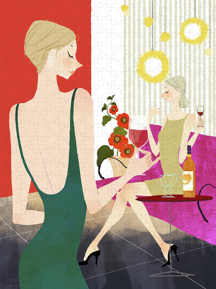 People Puzzle featuring the digital art Two Woman Drinking Wine by Eastnine Inc.