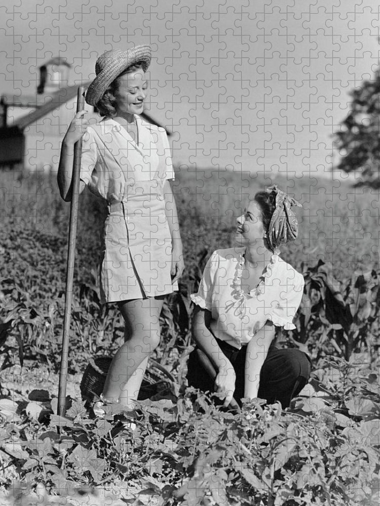 People Puzzle featuring the photograph Two Women Gardening In Field by George Marks