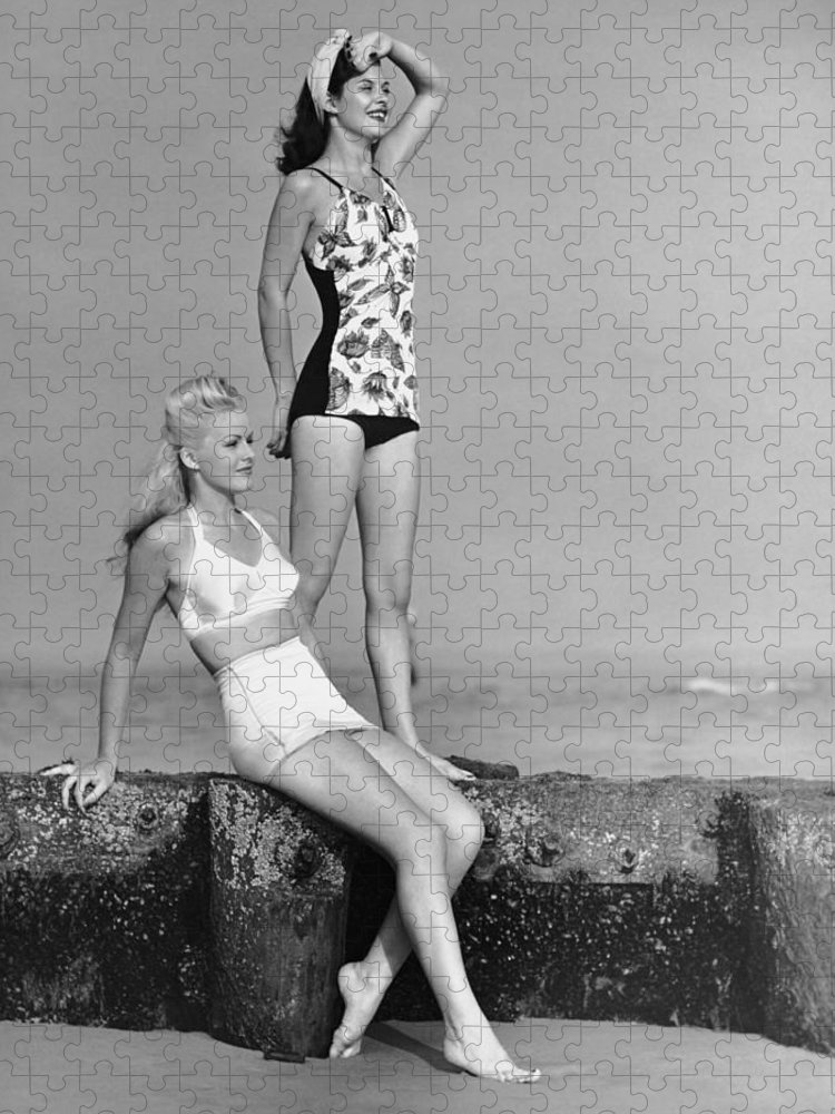 People Puzzle featuring the photograph Two Women In Bathing Suits by George Marks