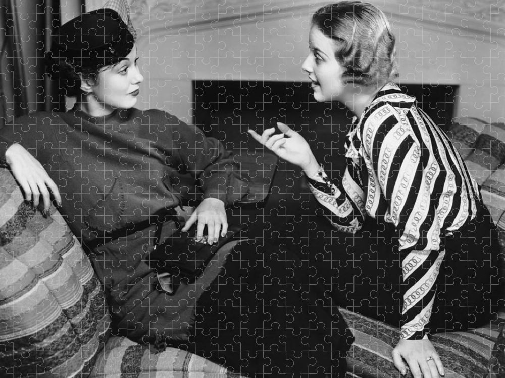 Three Quarter Length Puzzle featuring the photograph Two Women In Casual Conversation by George Marks