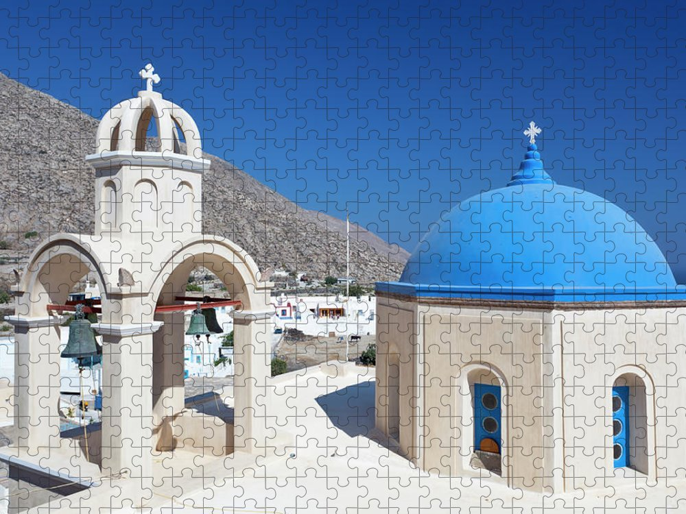 Greek Culture Puzzle featuring the photograph Typical Greek Church by Michaelutech