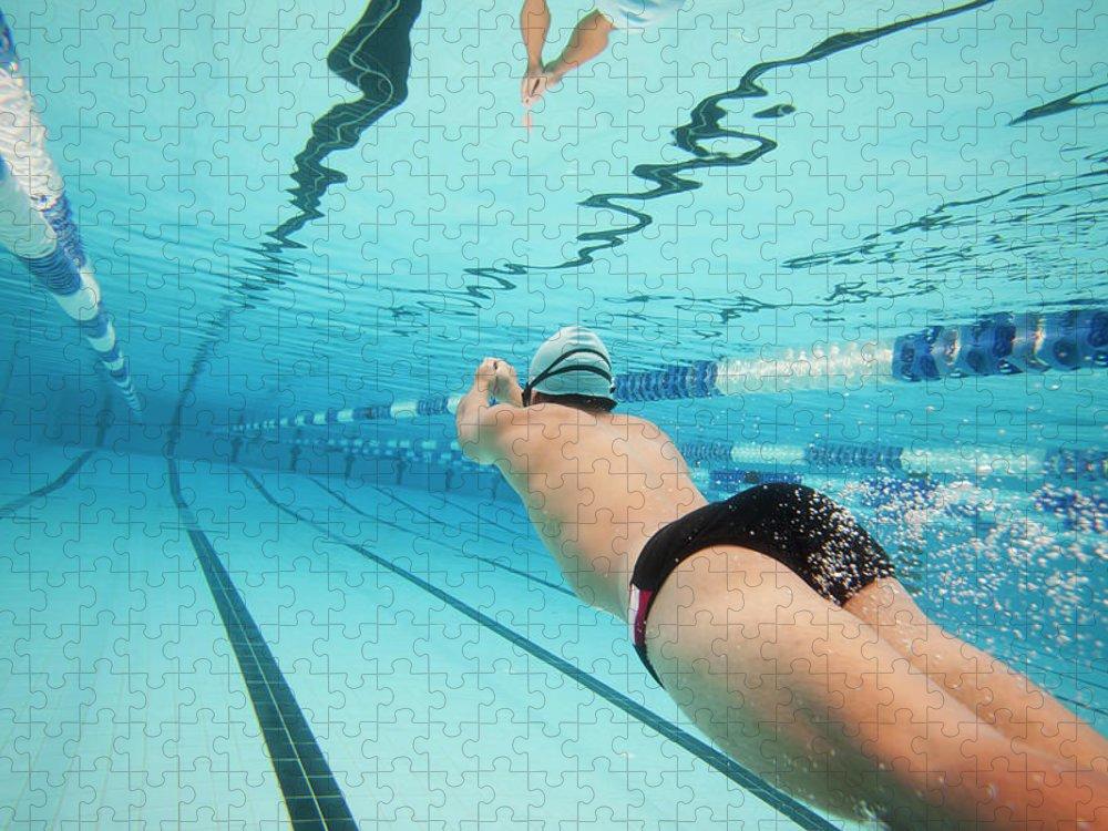 Underwater Puzzle featuring the photograph Underwater Swimmer by David Freund