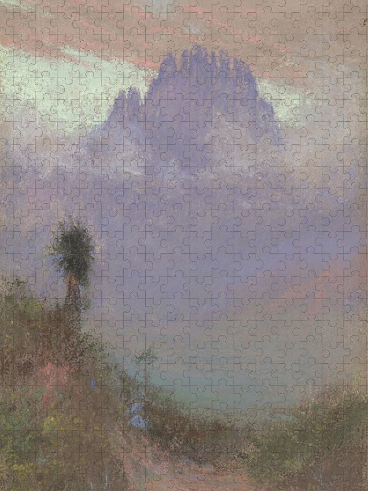 Mountainous Puzzle featuring the painting Untitled Mountain Landscape, 1920, Pastel by Charles Franklin Reaugh