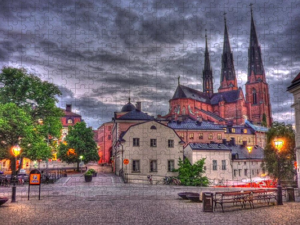 Tranquility Puzzle featuring the photograph Uppsala Cathedral Hdr by Only Beautiful Photo...