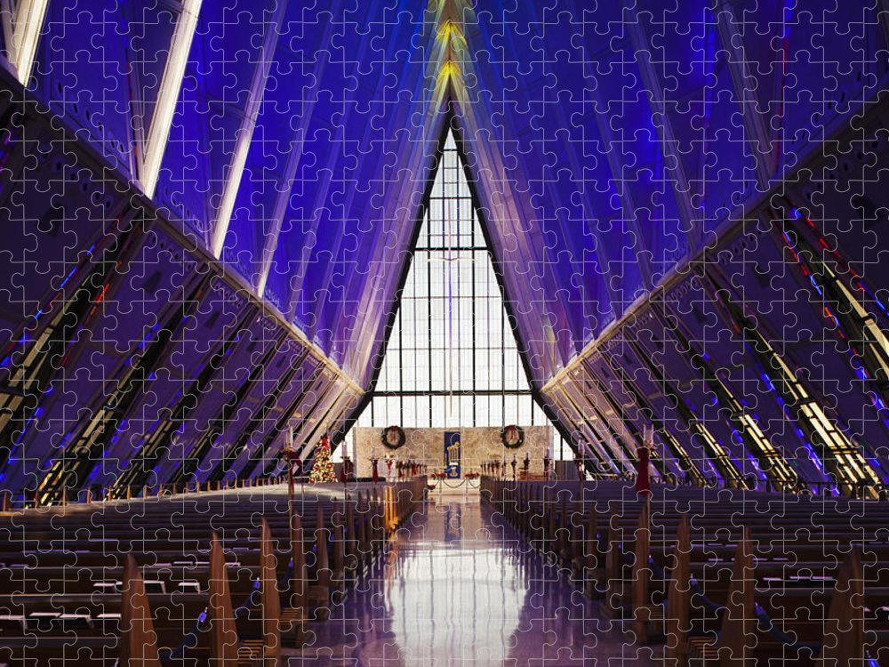 Large Group Of Objects Puzzle featuring the photograph U.s. Air Force Academy, Cadets Chapel by Walter Bibikow