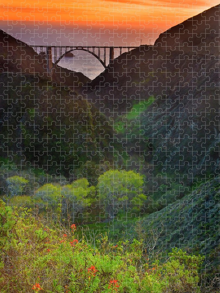 Tranquility Puzzle featuring the photograph Usa, California, Big Sur, Bixby Bridge by Don Smith