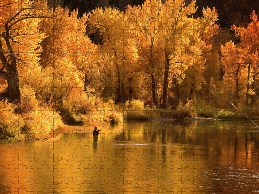 Orange Color Puzzle featuring the photograph Usa, Idaho, Salmon River, Mature Man by Steve Bly