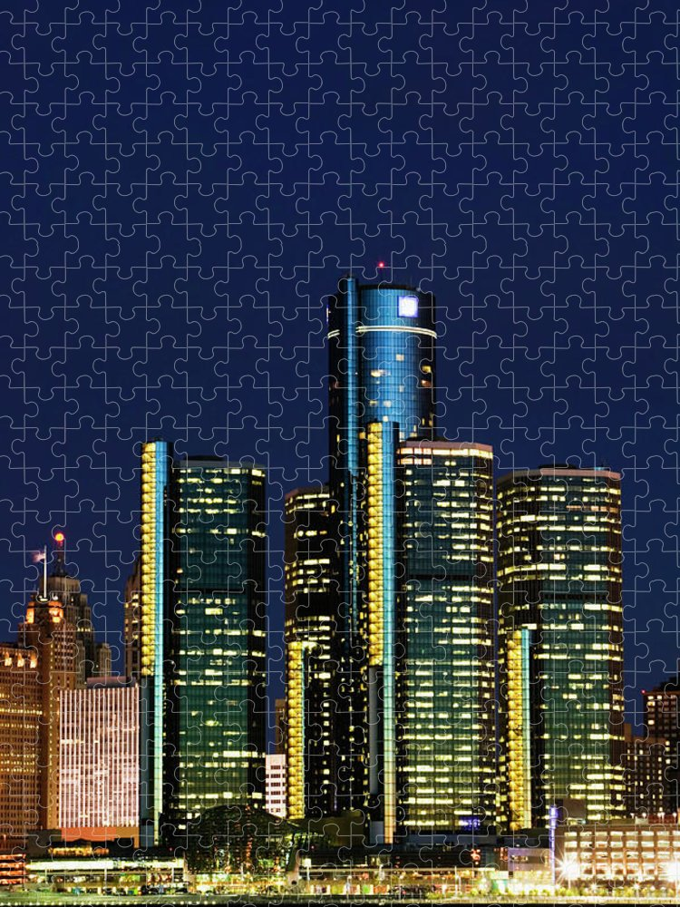 Detroit Puzzle featuring the photograph Usa, Michigan, Detroit, Skyline & by Walter Bibikow