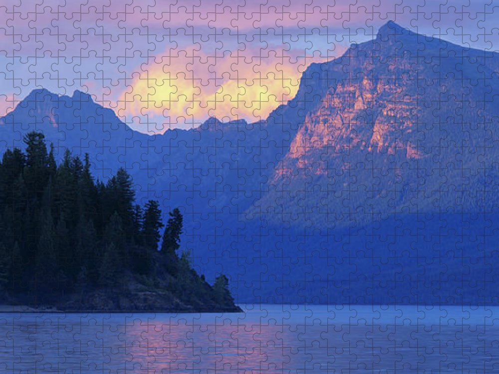 Scenics Puzzle featuring the photograph Usa, Montana, Glacier Np, Mountains by Paul Souders