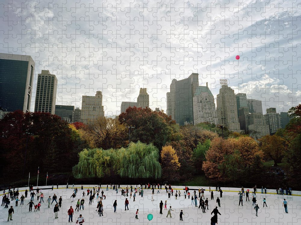 Child Puzzle featuring the photograph Usa, New York City, People Ice Skating by Carl Lyttle