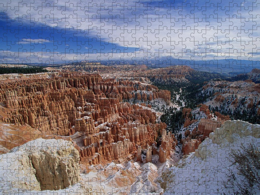 Snow Puzzle featuring the photograph Usa, Utah, Winter Bryce Canyon by Stan Osolinski