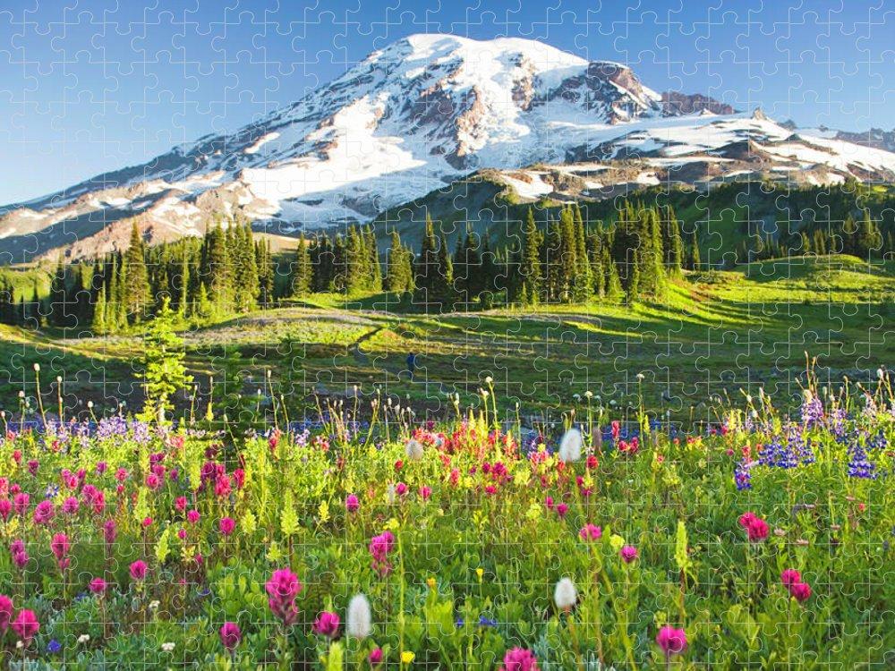 Scenics Puzzle featuring the photograph Usa, Washington, Mt. Rainier National by Rene Frederick