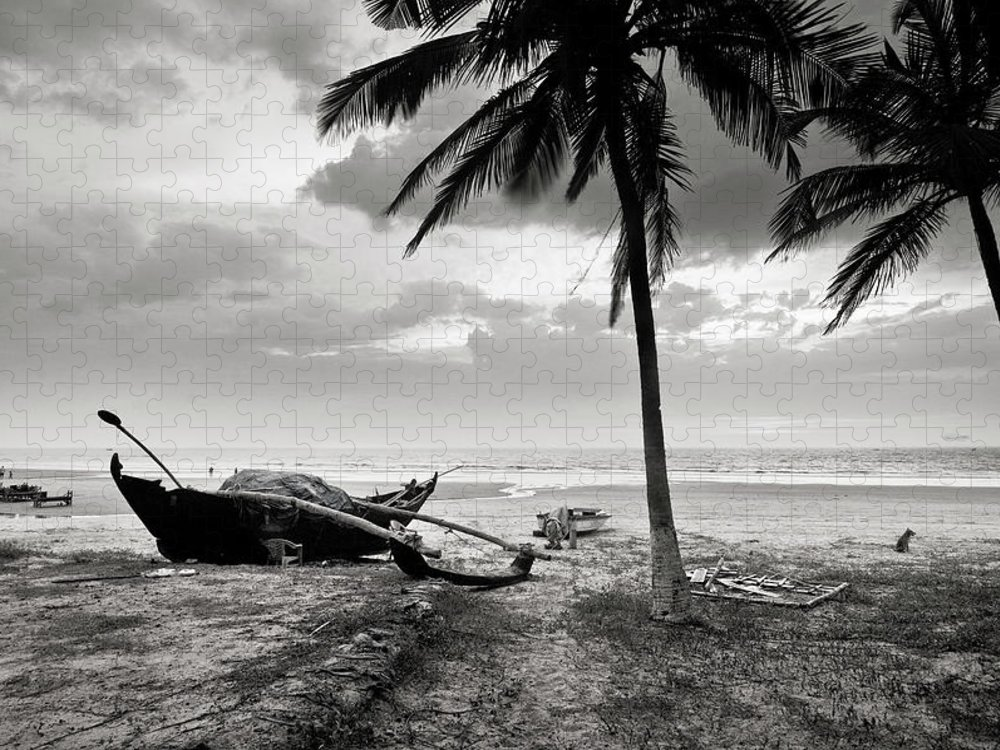 Tranquility Puzzle featuring the photograph Uttorda Beach , Goa, India Fishing Boat by Anoop Negi