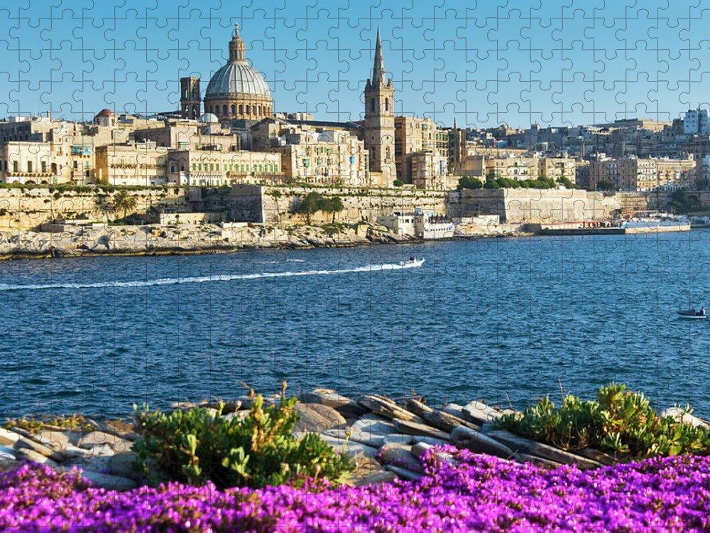 Flowerbed Puzzle featuring the photograph Valletta, Malta, Mediterranean by Nico Tondini