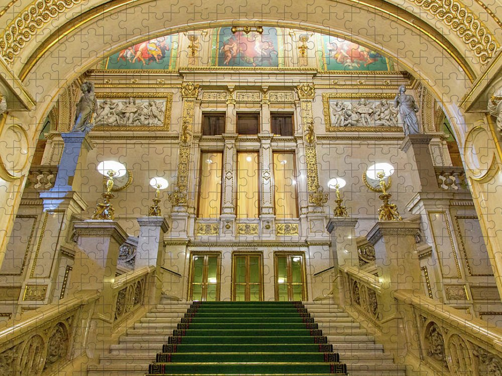 History Puzzle featuring the photograph Vienna Opera House, The Main Hall by Sylvain Sonnet