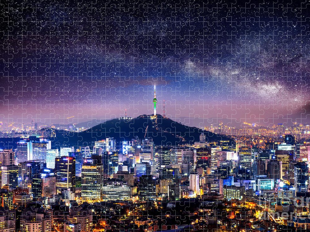 City Puzzle featuring the photograph View Of Downtown Cityscape And Seoul by Guitar Photographer