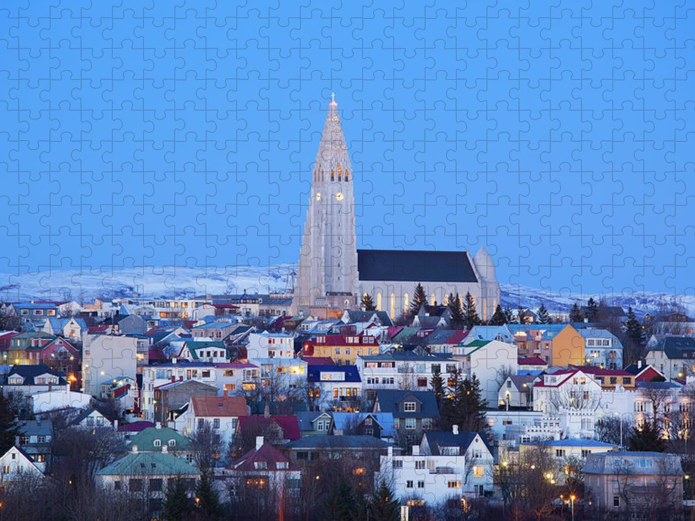 Snow Puzzle featuring the photograph View Of Hallgrimskirkja Church by Travelpix Ltd