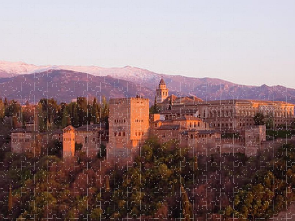 Scenics Puzzle featuring the photograph View To The Alhambra At Sunset by David C Tomlinson