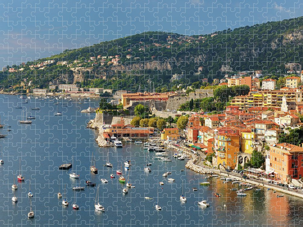 Scenics Puzzle featuring the photograph Villefranche-sur-mer On The Riviera by Cornelia Doerr
