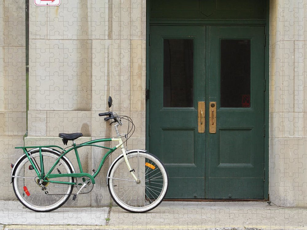 In A Row Puzzle featuring the photograph Vintage Bicycle Leaning Against by Coolestmovies