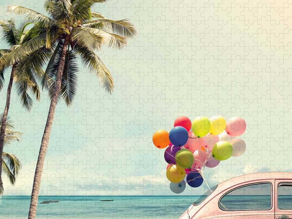Birthday Puzzle featuring the photograph Vintage Card Of Car With Colorful by Jakkapan