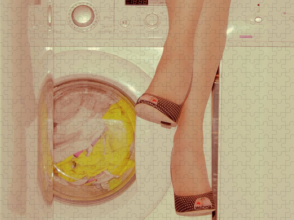 Laundromat Puzzle featuring the photograph Vintage Laundry by © Angie Ravelo Photography
