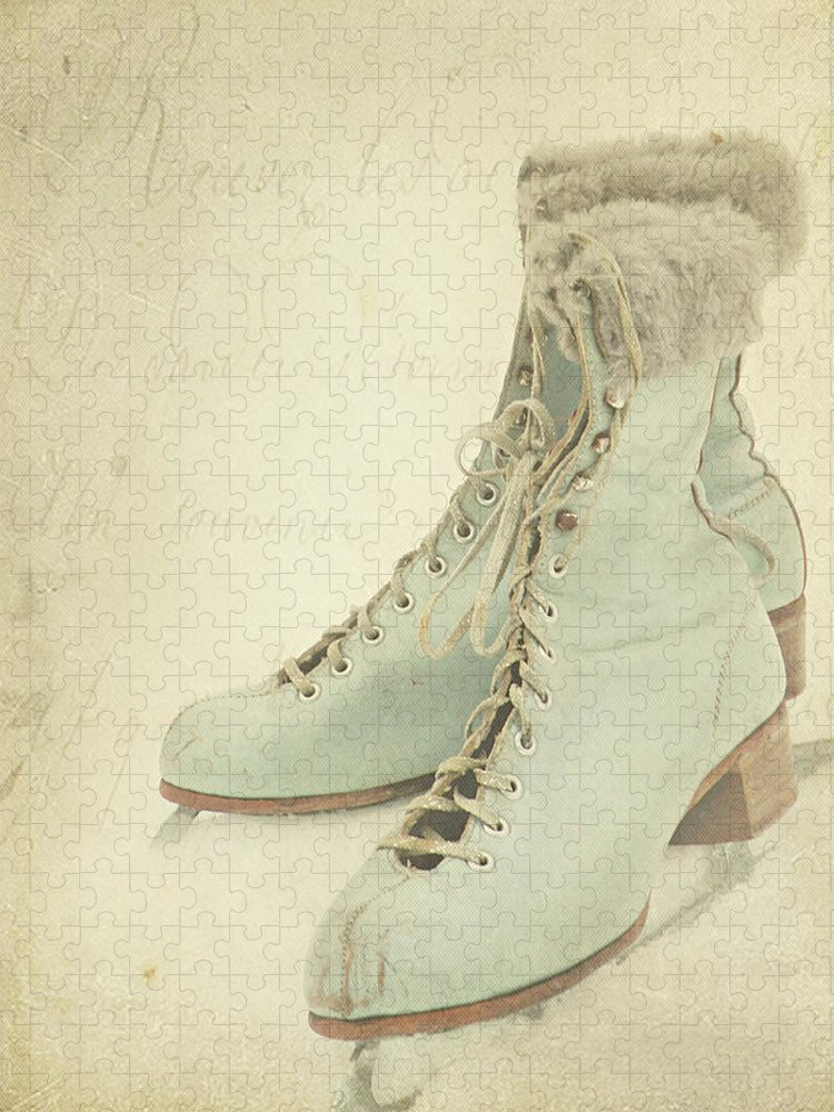 Snow Puzzle featuring the photograph Vintage Teal Skates by My Vintage Gardens Photography