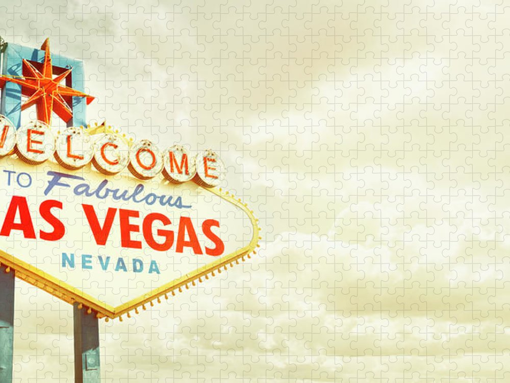 Panoramic Puzzle featuring the photograph Vintage Welcome To Fabulous Las Vegas by Powerofforever