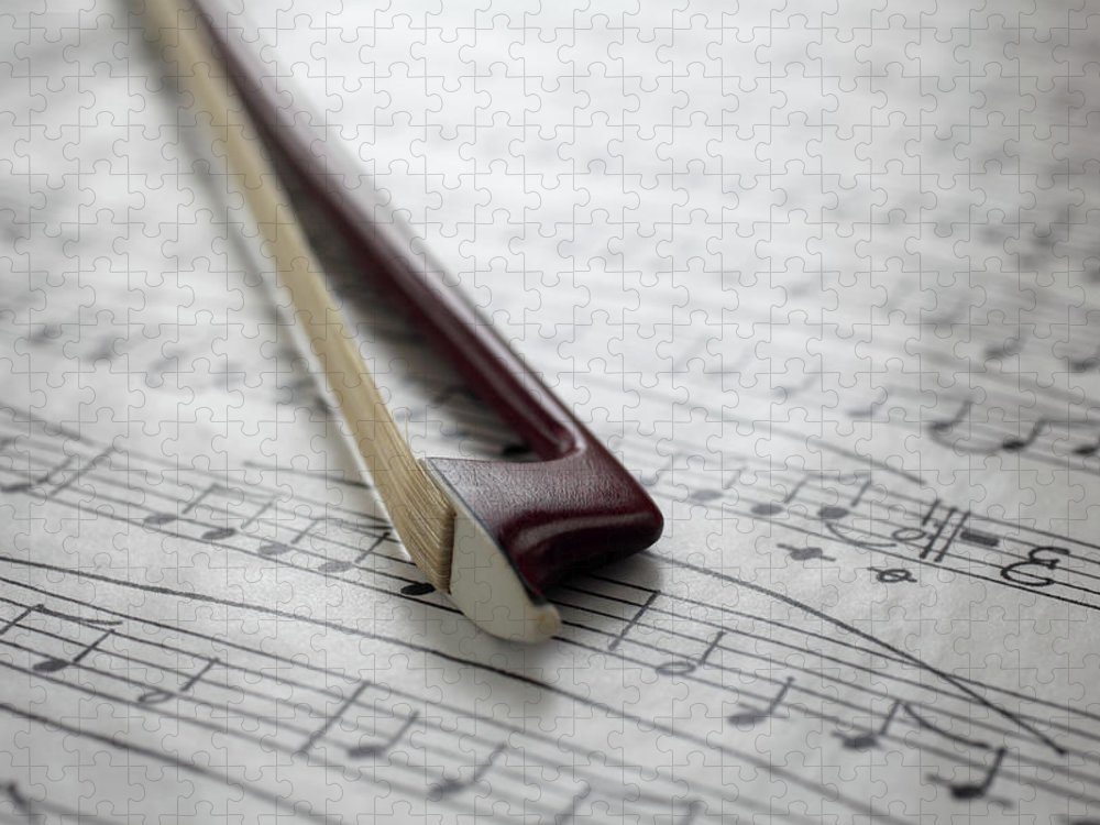 Sheet Music Puzzle featuring the photograph Violin Bow On Music Sheet by Daniel Allan