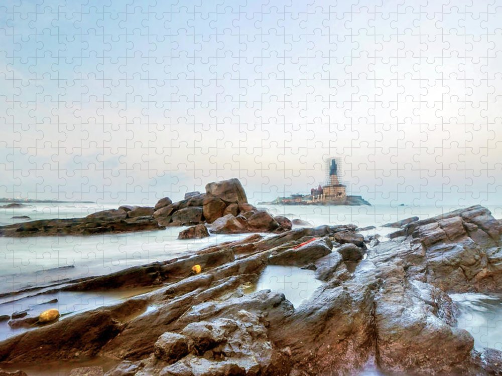 Statue Puzzle featuring the photograph Vivekanandar Rock & Thiruvalluvar by Yesmk Photography