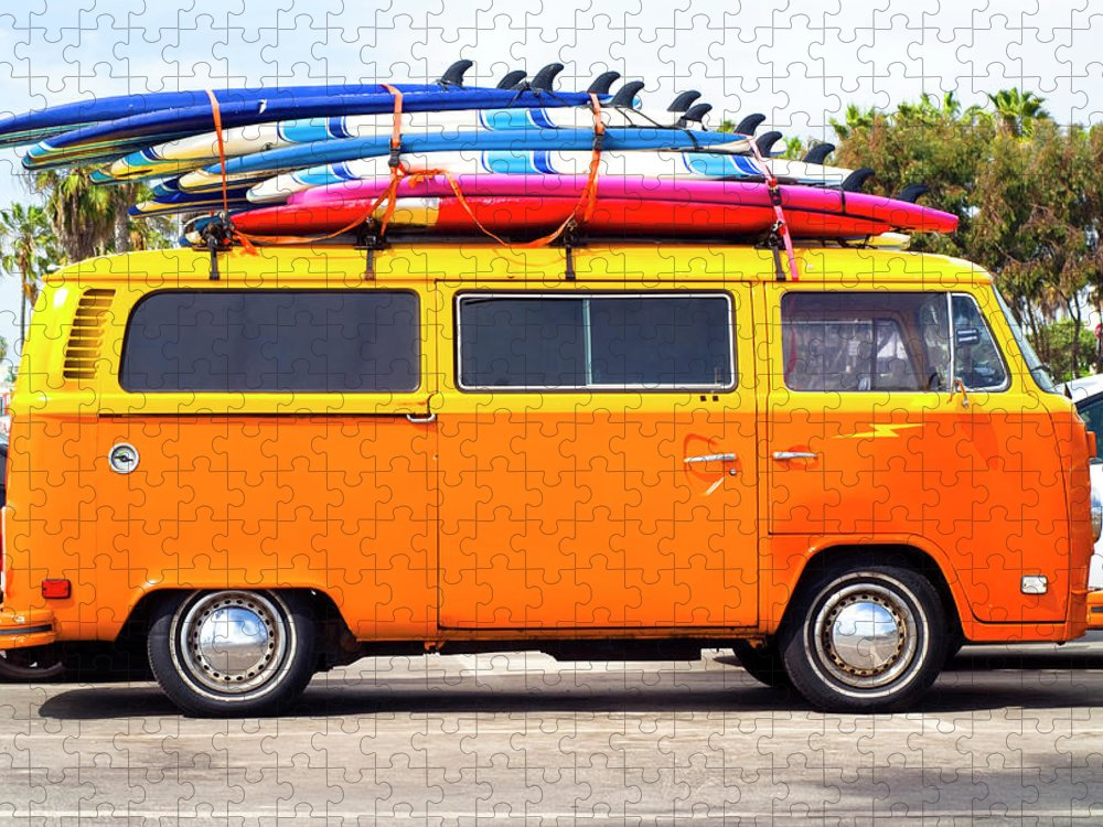 Youth Culture Puzzle featuring the photograph Volkswagen Bus With Surf Boards by Pete Starman