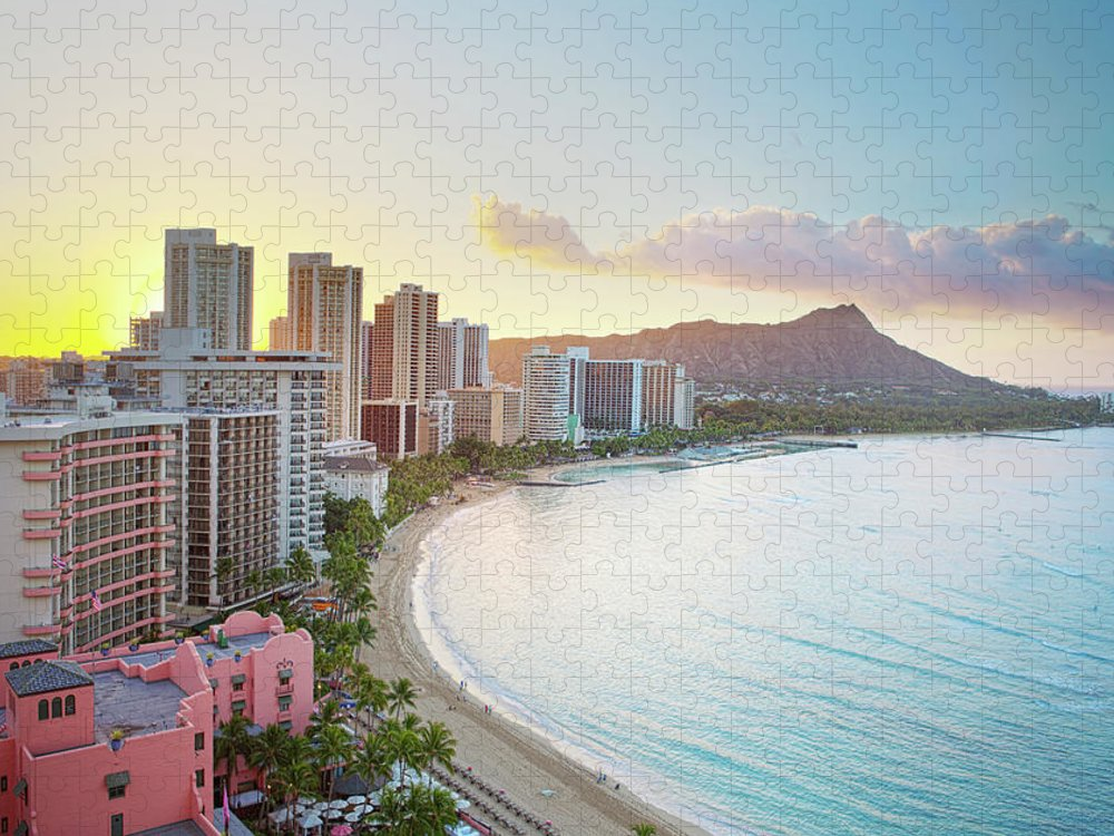 Scenics Puzzle featuring the photograph Waikiki Beach At Sunrise by M Swiet Productions