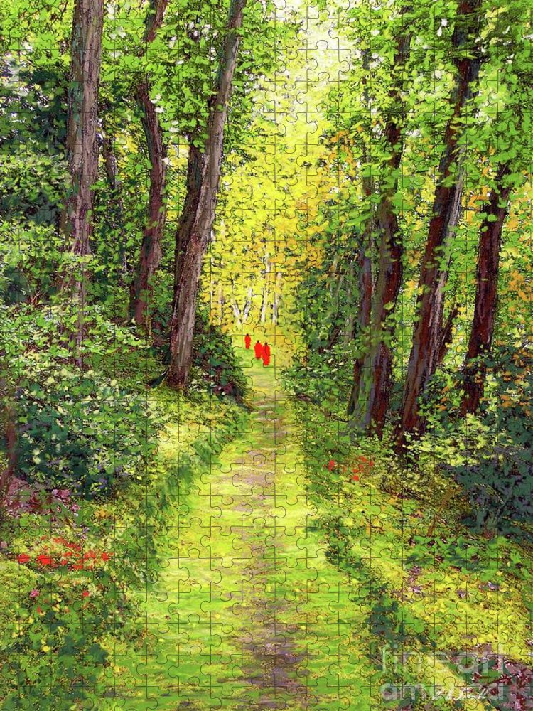 Meditation Puzzle featuring the painting Walking Meditation by Jane Small