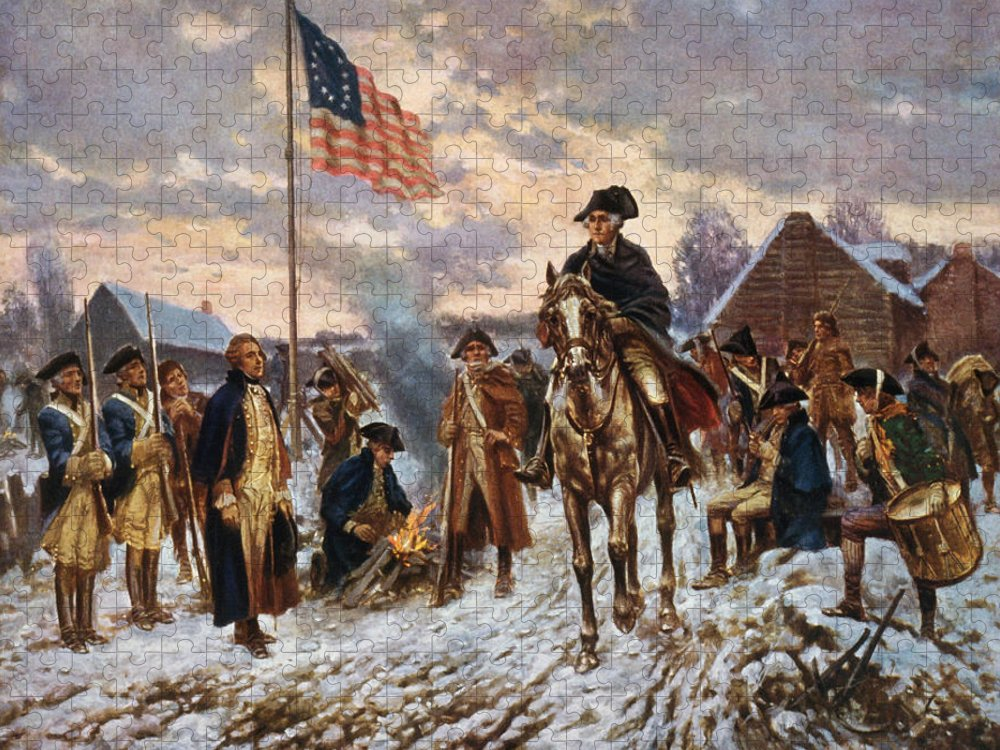 George Washington Puzzle featuring the painting Washington at Valley Forge by War Is Hell Store