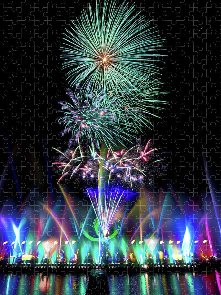 Firework Display Puzzle featuring the photograph Water Dancing Festival by Taiwan Nans0410