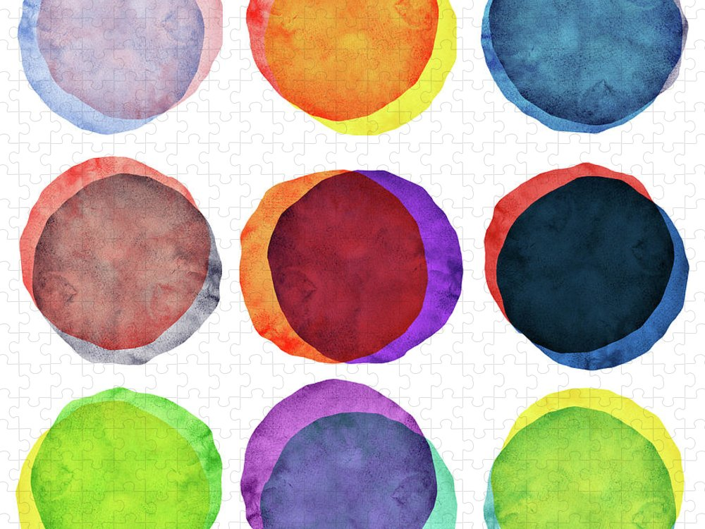 Watercolor Painting Puzzle featuring the photograph Watercolor Painted Circles Various by Momentousphotovideo