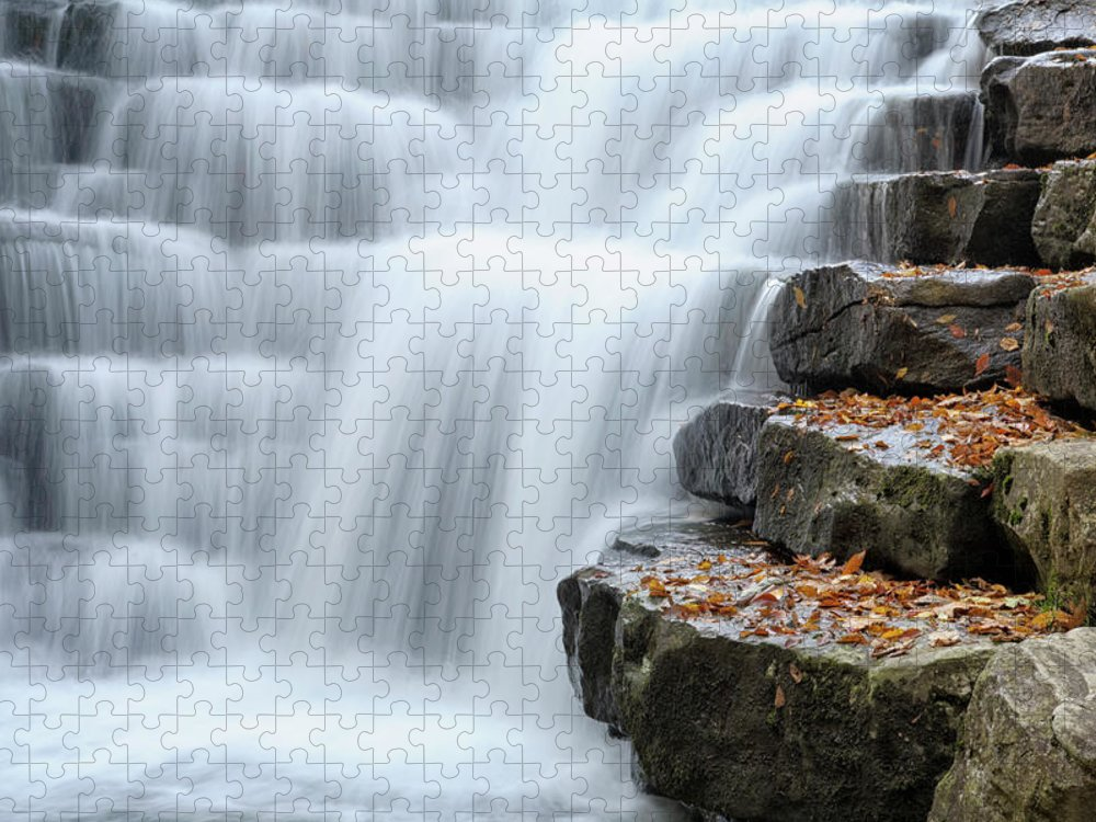 Steps Puzzle featuring the photograph Waterfall Flowing Over Rock Stair by Catnap72