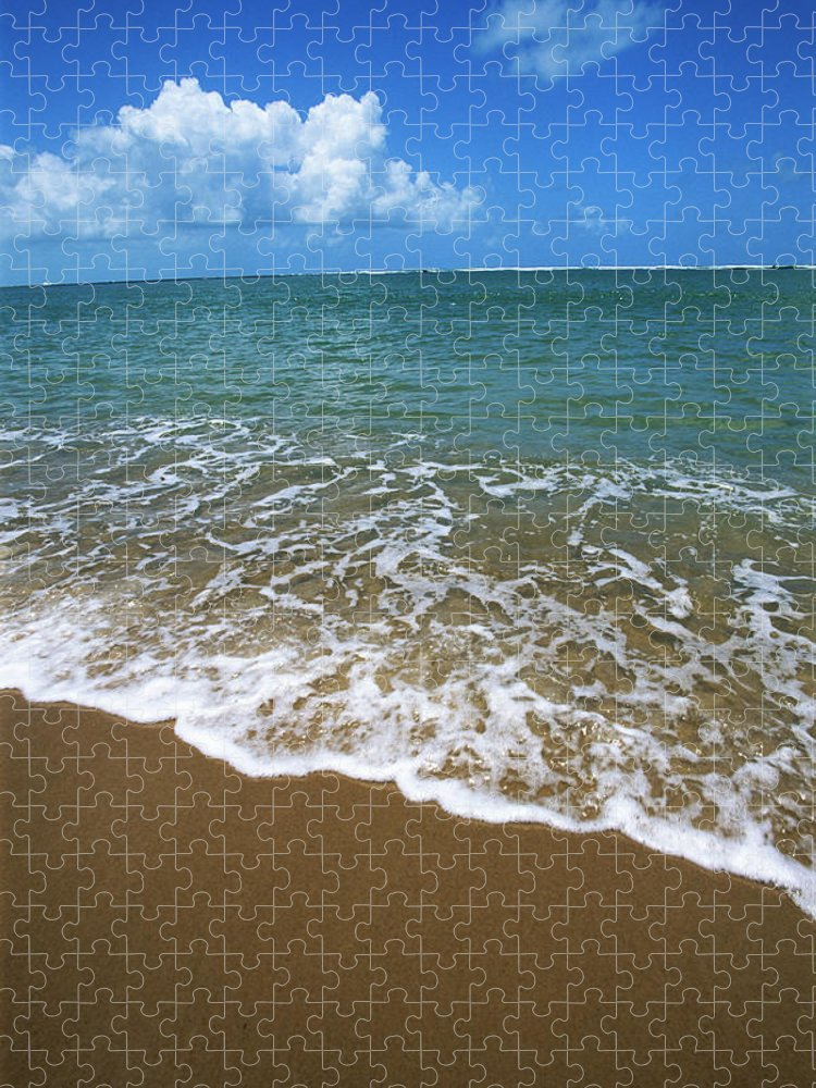 Water's Edge Puzzle featuring the photograph Waves Washing Onto White Sandy Beach by Luis Veiga
