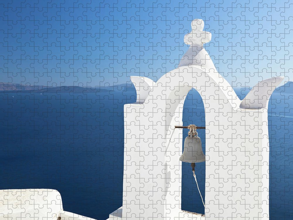 Greek Culture Puzzle featuring the photograph White Bell Tower And Blue Sea by Michaelutech