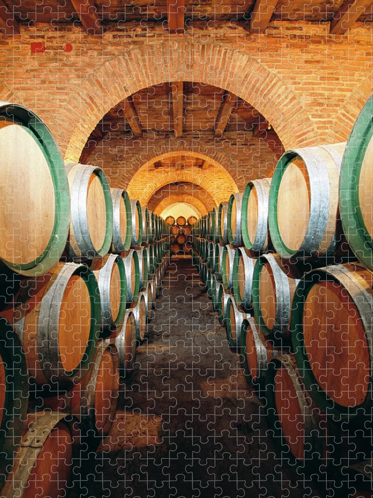 Working Puzzle featuring the photograph Wine Barrels In Cellar, Spain by Johner Images