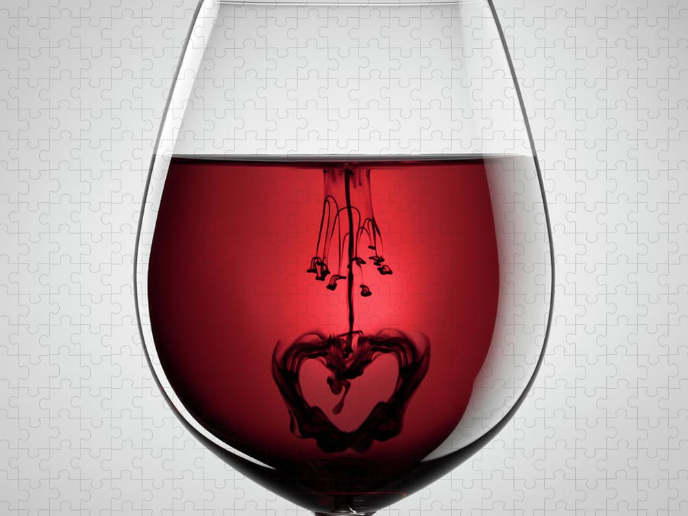 Mixing Puzzle featuring the photograph Wineglass, Red Wine, Black Ink And by Thomasvogel