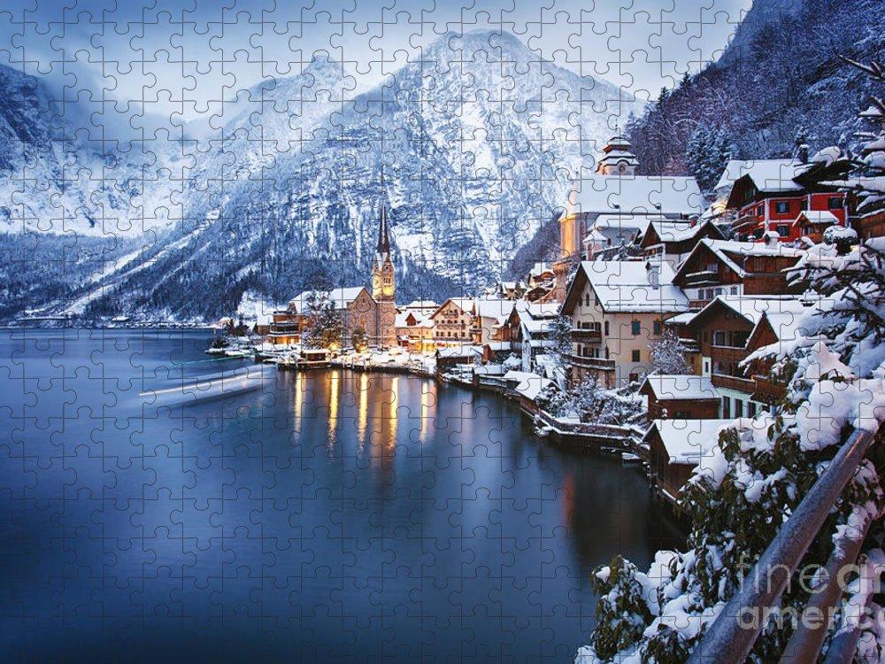 Beautiful Puzzle featuring the photograph Winter View Of Hallstatt Traditional by Dzerkach Viktar