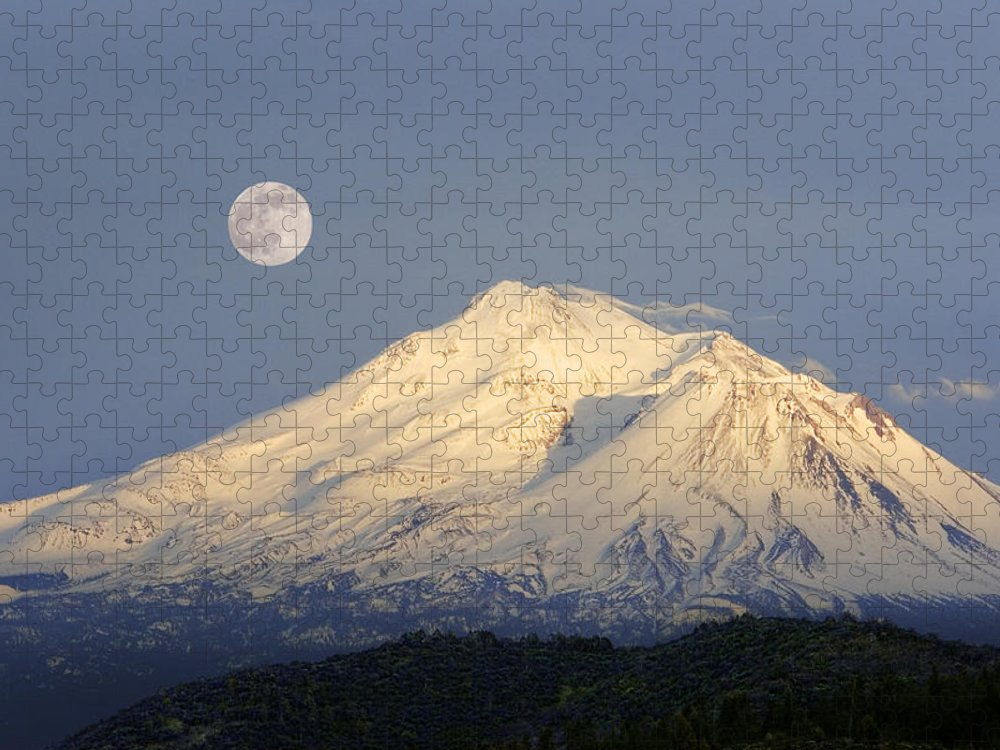 Scenics Puzzle featuring the photograph Winter View Of Mt. Shasta, In Northern by Diane Miller