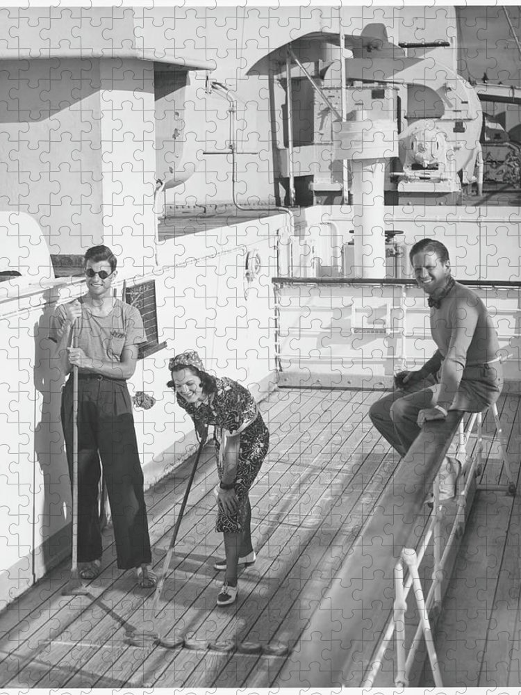 Young Men Puzzle featuring the photograph Woman And Two Men On Cruiser Deck, B&w by George Marks